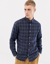 Selected Homme Texture Checked Shirt In Slim Fit Dark Blue Checks Navy