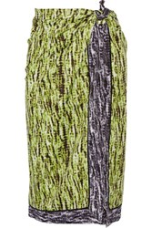 Proenza Schouler Reversible Printed Cotton And Silk Blend Pareo Chartreuse