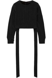 Sally Lapointe Woman Cropped Cupro Crepe Blouse Black