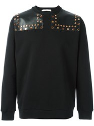 Givenchy Leather Panel Studded Sweatshirt Black