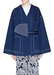 Acne Studios 'Orinda' Satin Patch Denim Kimono Jacket Blue