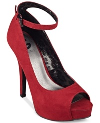 G By Guess Women's Valora Platform Ankle Strap Pumps Women's Shoes Red Suede