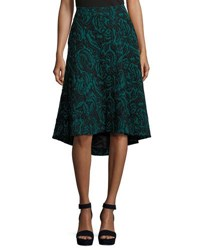 Catherine Malandrino Velvet Jacquard High Low Skirt Black Pattern
