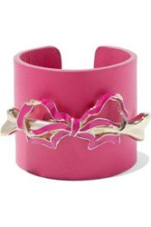 Red Valentino Leather Gold Tone And Enamel Cuff Fuchsia
