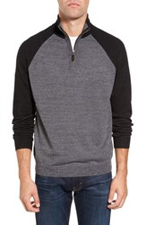 Tailor Vintage Men's Raglan Quarter Zip Sweater Grey Marled