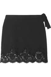 I.D. Sarrieri Lace Trimmed Stretch Mini Skirt Black