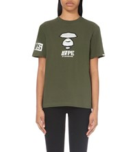Aape By A Bathing Ape Camo Back Cotton Jersey T Shirt Khaki