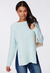 Missguided Ribbed Side Split Knitted Jumper Mint Green