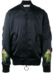 Off White Tiger Embroidered Bomber Jacket Black