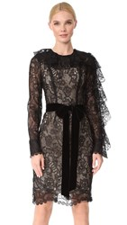Monique Lhuillier Dress With Ruffle Sleeves Noir