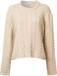 Ryan Roche Cable Knit Cropped Jumper Nude Neutrals