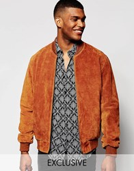 Reclaimed Vintage Suede Bomber Jacket Brown