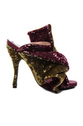 N 21 No. Sequin Embellished Bow Mules In Metallics Red Metallics Red