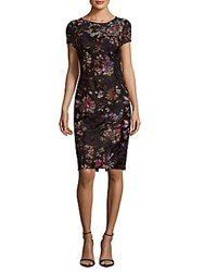 David Meister Embroidered Floral Print Dress Black Pink