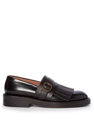 Marni Fringed Leather Loafers Black