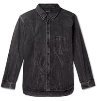 Balenciaga Oversized Button Down Collar Logo Print Stonewashed Denim Shirt Black