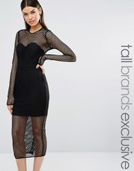 Taller Than Your Average Ttya Black Atlanta Long Sleeve Mesh Detail Slim Midi Dress Black