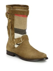 Burberry Grantsone Suede And Canvas Check Moto Boots Brown