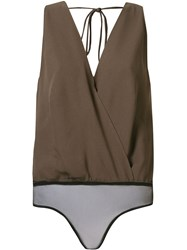 Andrea Marques Sleeveless Cache Coeur Blouse Brown
