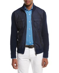Isaia Cotton Tech Hybrid Zip Front Jacket Navy