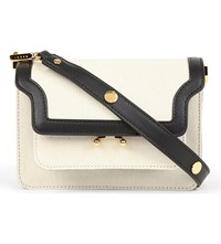 Marni Mini Trunk Leather And Canvas Shoulder Bag Stone White