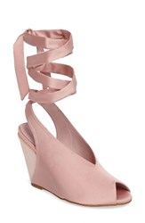 Jeffrey Campbell Women's Verlina Wedge Sandal Pink Satin