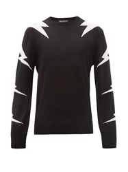 Neil Barrett Lightning Bolt Intarsia Wool Blend Sweater Black White