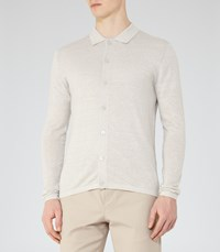 Reiss Harlow Mens Wool And Linen Polo Shirt In Grey