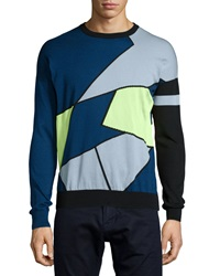 Versace Crewneck Colorblock Sweater Yellow Blue