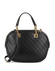Calvin Klein Diamond Quilted Leather Satchel Black Gold