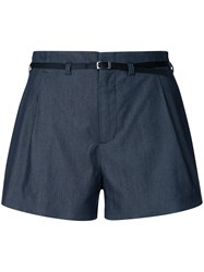 Guild Prime Pleated Shorts Women Polyester Tencel 36 Blue