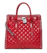 Michael Kors Hamilton Large Grommet Quilted Leather Tote Dark Red