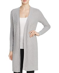 Foxcroft Mixed Stitch Cardigan Sweater Silver