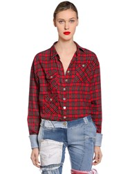 Ronald Van Der Kemp Plaid Flannel Shirt W Denim Cuffs