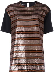Rochas Sequin Stripe Blouse Metallic
