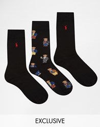 Polo Ralph Lauren 3 Pack Bear Socks In Gift Box Exclusive To Asos Black