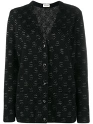 Saint Laurent Mohair And Wool Cardigan With Dollar Signs Embroidery Black