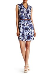 Eci Sleeveless Floral Belted Shirtdress Blue