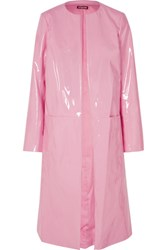 Staud Liam Faux Patent Leather Coat Baby Pink