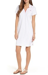 Tommy Bahama Women's Tropicool Tipped Polo Dress White Cherry Pink