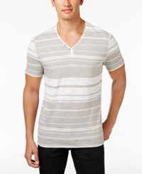 Inc International Concepts Men's Striped Y Neck T Shirt Only At Macy's Smoked Silver