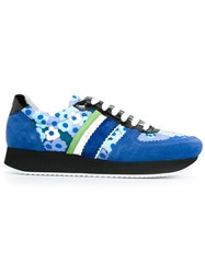 Carven Floral Print Panel Sneakers Blue