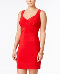 Emerald Sundae Juniors' Banded Bodycon Dress Red