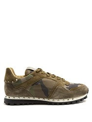 Valentino Rockrunner Camouflage Print Trainers Green Multi