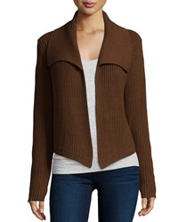 Michael Kors Shawl Collar Open Front Cardigan Nutmeg Brown