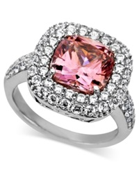 Arabella Sterling Silver Ring Pink And White Swarovski Zirconia Two Row Cushion Cut Ring 8 3 8 Ct. T.W. Clear