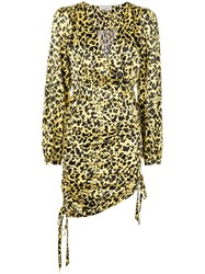 Laneus Leopard Print Dress Yellow