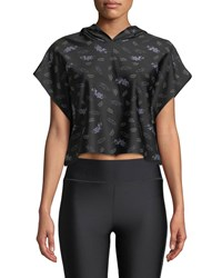 Ultracor Sparrow Lavender Print Cropped Hooded Activewear Tee Black Pattern