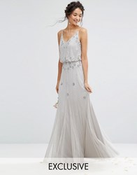 Amelia Rose Embellished Overlay Maxi Dress With Mesh Insert Skirt Gray