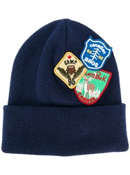 Dsquared2 Patch Embroidered Beanie Hat Men Wool One Size Blue